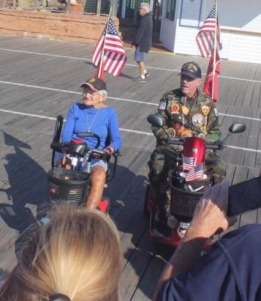 Doie and JR, a highly decorated Vietnam era Marine being awarded Quilts of Valor in OC
