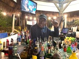 Our friend John at the Tiki Bar